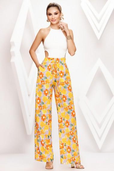 Pantaloni Celia galbeni cu imprimeu floral