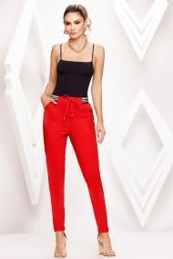 Pantaloni Brena rosii cu banda aurie in talie