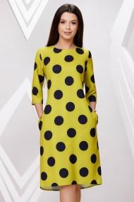 Rochie de zi midi Ejolie galbena cu buline negre