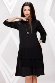 Rochie de zi midi Ejolie neagra cu volane plisate