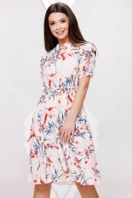 Rochie de zi midi Ejolie cu imprimeu albastru si corai