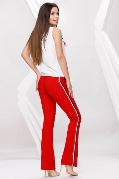 Compleu Miki din doua piese cu bluza alba si pantaloni rosii