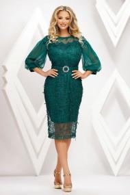 Rochie de seara midi Ejolie verde din dantela cu aplicatii si maneci bufante din tull