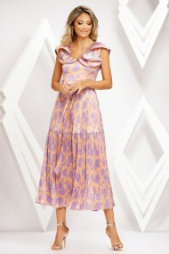 Rochie Mera corai plisata cu imprimeu lila si volane