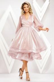 Rochie Dunia roz pastel din voal cu insertii negre