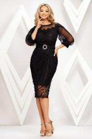 Rochie de seara midi Ejolie neagra din dantela cu aplicatii si maneci bufante din tull
