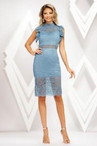 Rochie de seara mini Ejolie bleu din dantela