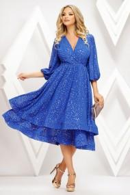 Rochie Dunia albastra din voal cu insertii aurii