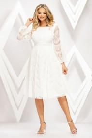 Rochie Emmy alba din tull cu insertii de catifea