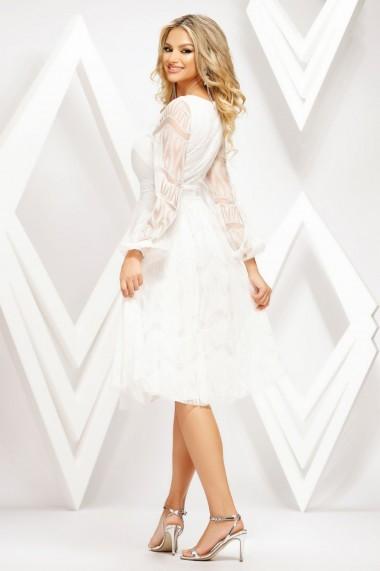 Rochie de zi midi Ejolie alba din tull cu insertii de catifea