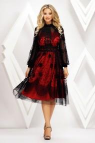Rochie de seara midi Ejolie neagra din catifea cu jupon rosu