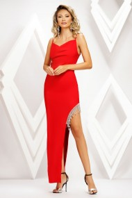 Rochie de seara lunga Ejolie rosie asimetrica cu franjuri din strasuri