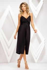 Rochie de seara mini Ejolie neagra satinata cu crepeu in fata