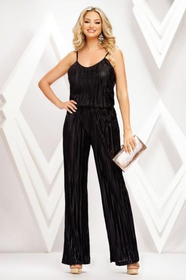 Compleu Elsie negru din voal plisat cu top si pantalon
