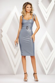 Rochie de seara midi Ejolie bleu din lurex