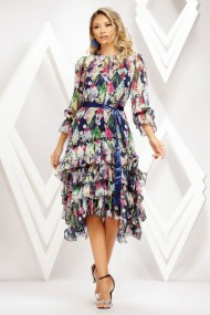 Rochie de zi midi Ejolie bleumarin asimetrica din voal cu volane
