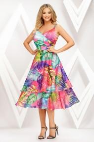 Rochie de zi midi Ejolie roz cu imprimeu tropical