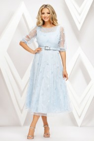 Rochie de seara midi Ejolie bleu pastel din tull cu flori aplicate