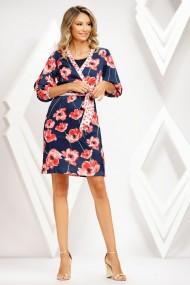 Rochie de zi midi Ejolie bleumarin cu imprimeu floral