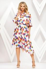 Rochie de zi midi Ejolie alba cu croi asimetric si imprimeu multicolor