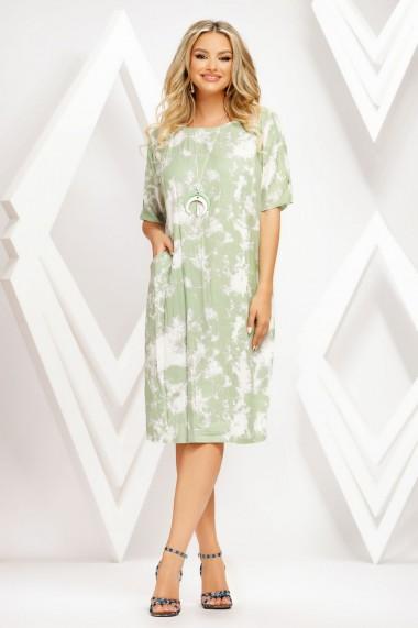 Rochie de zi midi Ejolie vernil cu imprimeu alb
