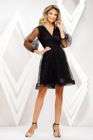 Rochie de seara midi Ejolie neagra din tull cu buline din catifea