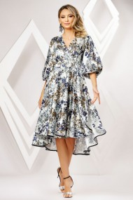 Rochie Kallie alba cu imprimeu bleumarin si maro