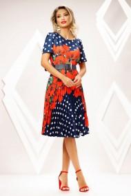 Rochie Haley albastra cu buline si fusta plisata cu imprimeu rosu
