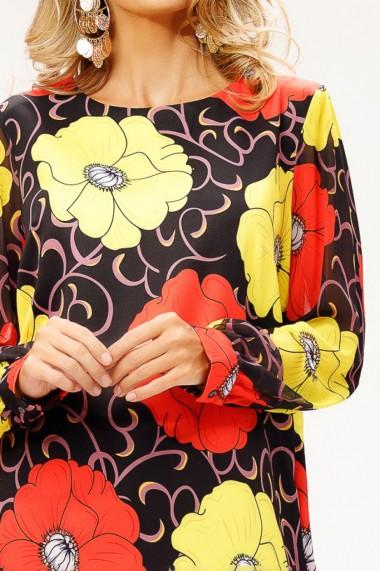 Rochie Stevie neagra cu imprimeu rosu si galben