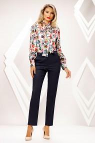 Pantaloni Gabriela bleumarin in carouri cu dungi maro