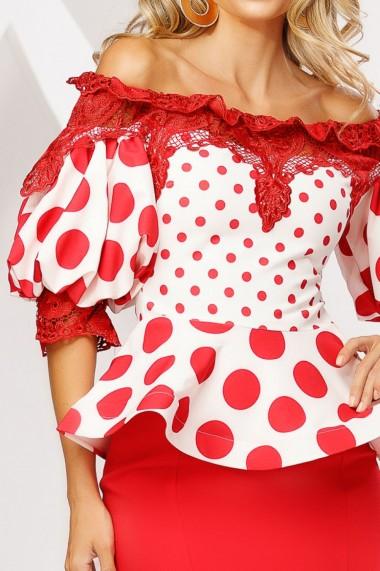 Compleu Lolita cu fusta rosie si bluza alba cu buline