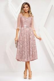 Rochie Olesea roz cu insertii si maneci din tull
