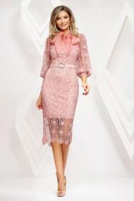 Rochie Taya roz din dantela macrame cu maneci bufante si funda maxi