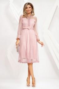 Rochie Alaya roz din tull cu insertii
