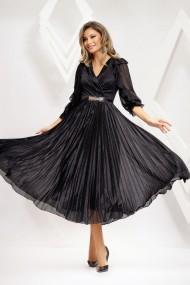 Rochie Mariola neagra din voal cu insertii, plisata