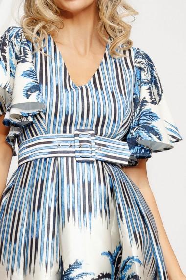 Rochie Franca ivoar din tafta cu imprimeu albastru