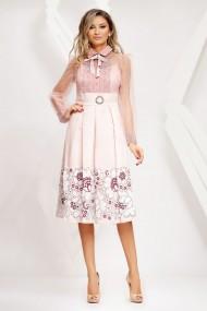 Rochie Paula roz cu fusta in pliuri si bluza din tull cu dantela