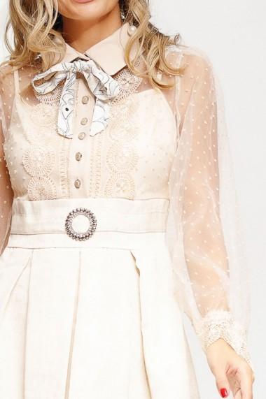 Rochie Paula crem cu fusta in pliuri si bluza din tull cu dantela