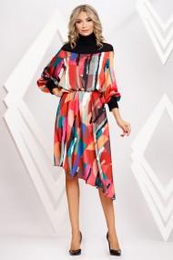 Rochie Kali asimetrica cu imprimeu abstract multicolor