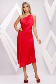 Rochie Natasha rosie cu spatele gol si accesoriu pe talie