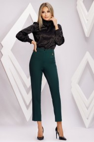 Pantaloni Linette verzi din stofa