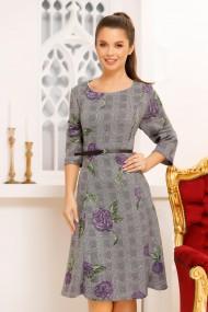 Rochie midi Manola Grey cu imprimeu floral Purple