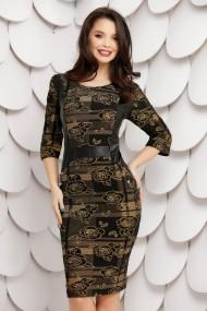 Rochie de zi midi Ejolie neagra cu imprimeu kaki si detalii din piele ecologica