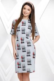 Rochie Damaris gri cu imprimeu fashion