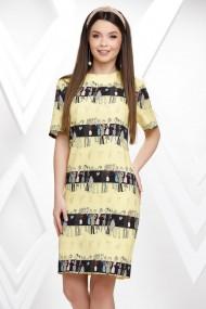Rochie de zi midi Ejolie galbena cu imprimeu fashion negru