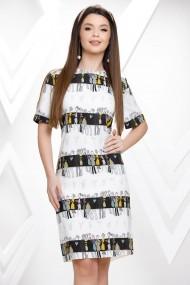 Rochie Damaris alba cu imprimeu fashion negru si galben