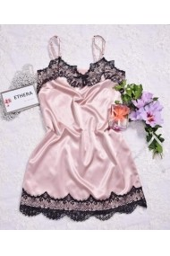Rochita Ethera din satin roz cu insertii de dantela