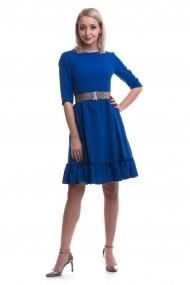 Rochie de zi midi TINKA cu volane albastre