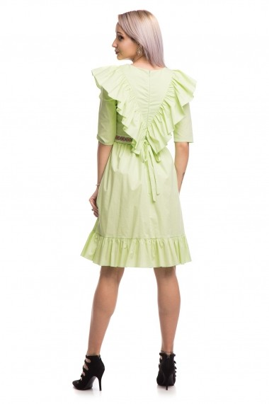Rochie de zi scurta Tinka cu motive traditionale vernil