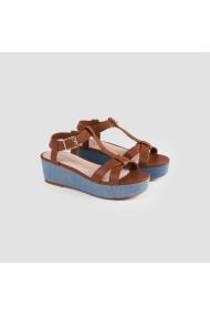 Sandale cu toc Carolina Boix Bej 51691 Bej